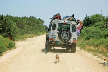 Melinda Fager's daughter, Charlotte, hangs off the jeep as the dog, Max, follows.