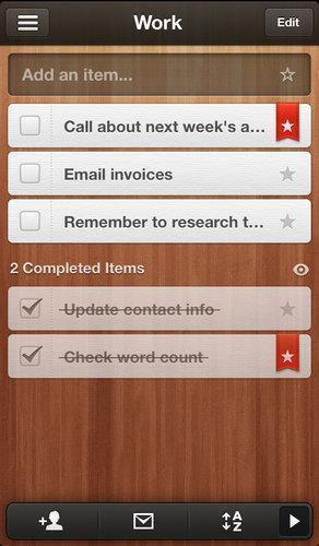 Wunderlist is a powerful app for making and managing lists that has a clear interface controlled by gestures and taps.