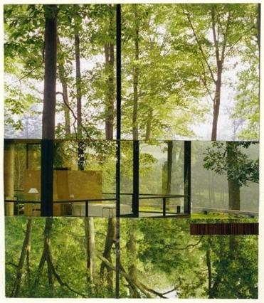 "Gary Hilderbrand's collage ""Glass House Reflections II."""
