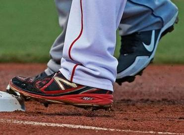 A New Balance spike worn by Dustin Pedroia.