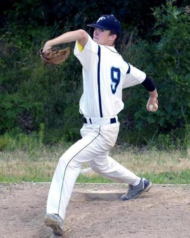 Zach Walker of Franklin Legion Post 75 warmed up during a game against Westwood Legion last week. His record this summer  is a perfect 4-0, and his ERA is 1.70.