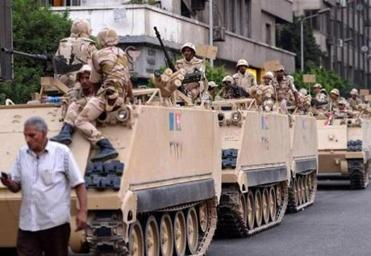 The Egyptian army sent dozens of tanks to locations where President Mohammed Morsi's supporters had gathered.