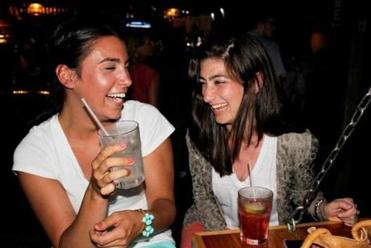 Emma Tautkus, 25, and Brittany King, 26, were enjoying their time at Grumpy's Pub on a recent Saturday night.