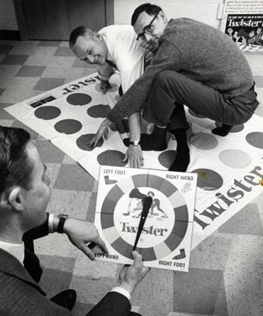 Co-inventors of the game Twister, Chuck Foley (left) and Neil Rabens, demonstrated how to play in 1966.