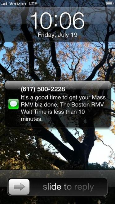 MassRMVWaitTime.com sends users a text message when the wait  time at a branch of the Registry of Motor Vehicles has died down.