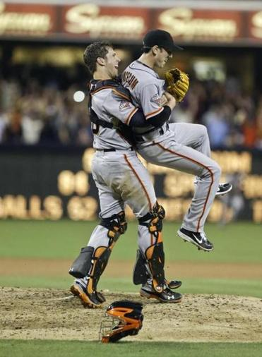 Giants catcher Buster Posey gave Tim Lincecum a lift after his no-hitter,