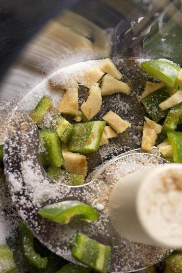 TIP In the chutney recipe, give the hard ginger and the chilies and spices a headstart in the food processor before adding the herbs.