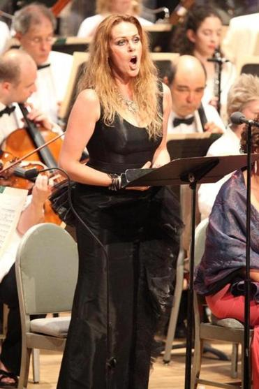 Soprano Kristine Opolais, wife of the convalescing Andris Nelsons, soloing at Tanglewood on Saturday night.