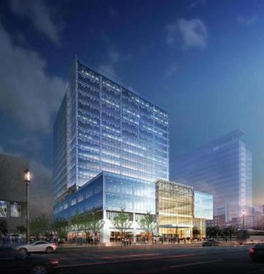 The tower will be the first major office building in Seaport Square.