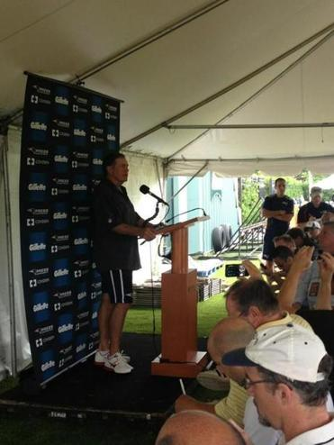 Bill Belichick met reporters in a tent at the Eagles facility on Tuesday.