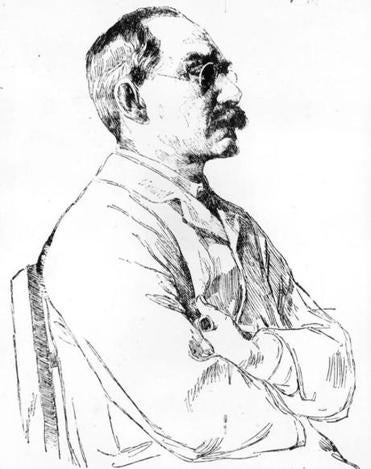 1899: An etching of the British writer and Nobel Laureate Rudyard Kipling by W Strang from the New York Herald. (Photo by Hulton Archive/Getty Images)