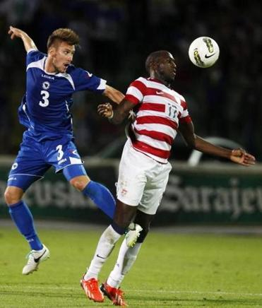 Bosnia's Ermin Bicakci was no match for the heads-up hat trick of Jozy Altidore.