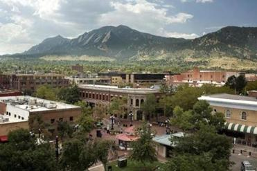 Boulder, Colo. sits in the foothills of the Rockies.