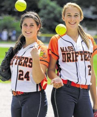 With the Mass Drifters 18U Gold team this summer, Courtney Zambello (left) has posted a 0.84 earned run average with 117 strikeouts, while Sarah Dawson has compiled an 1.40 ERA with 95 strikeouts.