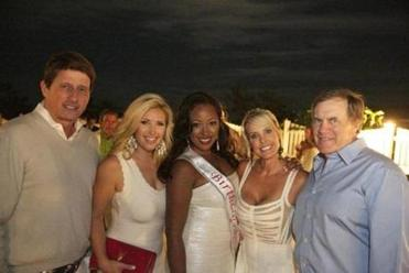 AJ Williams (center) with (from left) Bill Emery, Bianca de la Garza, Linda Holliday, and Bill Belichick at Williams's Nantucket birthday party.