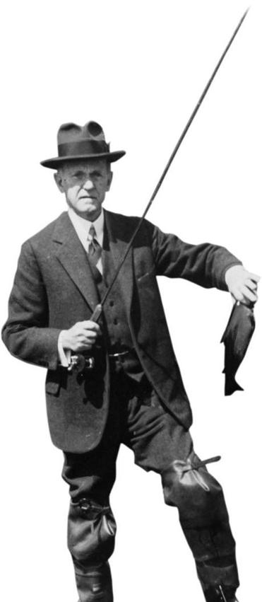 President Calvin Coolidge fished at the home of a friend in Simsburyg, Conn.