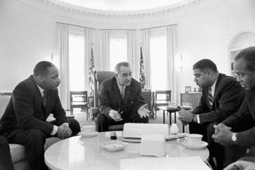 LBJ with Martin Luther King Jr. (left), Whitney Young, and James Farmer  in 1964.