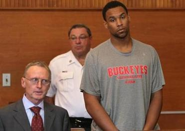 Jared Sullinger of the Boston Celtics was arraigned in Waltham District Court accompanied by his lawyer.