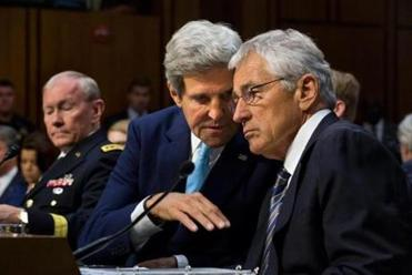 Secretary of State John F. Kerry and Secretary of Defense Chuck Hagel conferred.