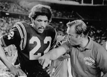 "Isaac Curtis, shown with Don Coryell while playing at San Diego State in 1972, prompted the NFL's ""Isaac Curtis Rule""  in 1974"