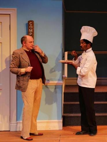"Neil A. Casey (left) and Davron S. Monroe in the Lyric Stage Company production of Richard Bean's ""One Man, Two Guvnors.''"