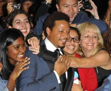 Terrence Howard with fans.