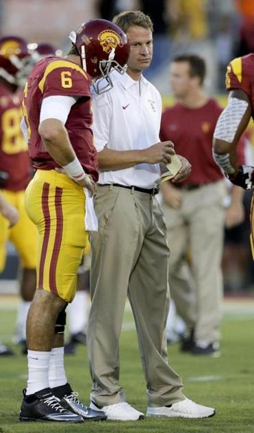 Southern Cal coach Lane Kiffin is sticking with Cody Kessler (6) after alternating quarterbacks last weekend.