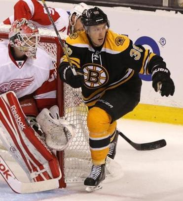 Boston Bruins left wing Jordan Caron (38) will play tonight, and will be the focus of the decision makers on the team.