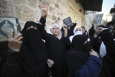 Palestinian women protested outside the Temple Mount, where groups of Jews are increasingly going.