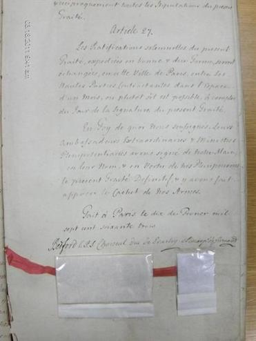 From the National Archives of the United Kingdom, the signature page from a British copy of the1763 Treaty of Paris.