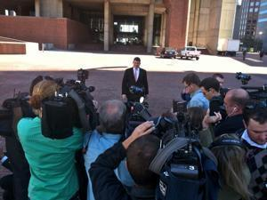 John Connolly spoke to reporters before an afternoon City Council meeting.