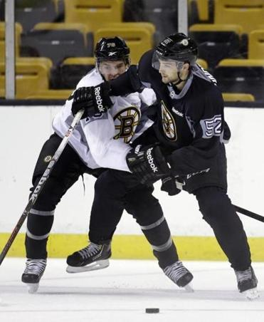 Bruins forward Matt Lindblad (right) battled for the puck during a recent practice at TD Garden.