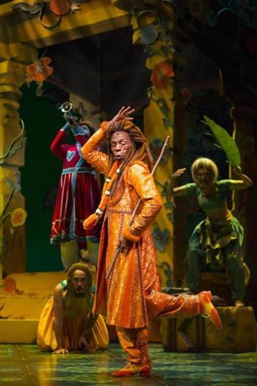 "Andre De Shields as King Louie, as musicians join actors on stage, in Huntington coproduction of  ""The Jungle Book."""