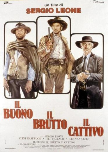 "An Italian poster promoted ""The Good, the Bad, and the Ugly,"" with Clint Eastwood, Eli Wallach, and Lee Van Cleef."
