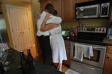 After the funeral, friends and family gathered at their house, and Rachael and Kevin shared a quiet moment alone.