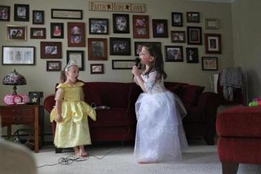 As she rallied after radiation therapy ended, Caroline returned to a level of normalcy, like singing, dancing, and dressing as a princess with one of her best friends, Lilah Magee.