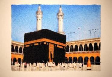 "Hamra Abbas's ""Kaaba Pictures"" series, archival pigment prints of photographs that look like paintings."