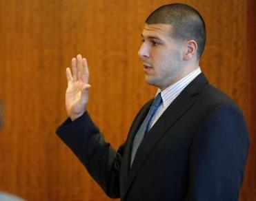 At Bristol County Superior Court in Fall River, Aaron Hernandez answered questions about a potential conflict of interest involving one of his lawyers and the wife of a prosecutor.