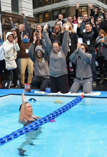 Long-distance swimmer Diana Nyad acknowledged the crowd in Herald Square Thursday following her effort to raise money for the victims of Hurricane Sandy.