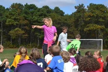 Kristine Lilly at a soccer clinic in Yarmouth.