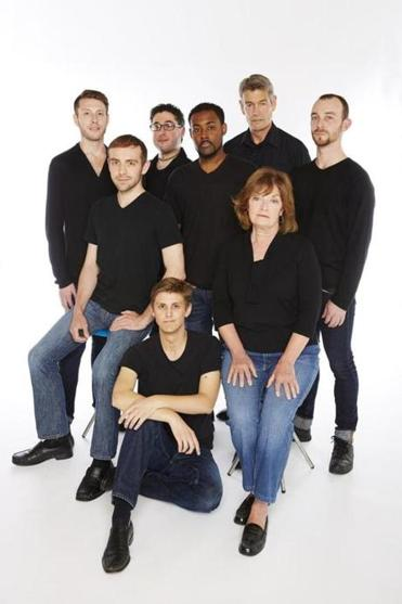 """The Normal Heart"" cast members include (clockwise from front): Mike Meadors, Victor Shopov, Joey Pelletier, Mikey Diloreto, Mario Da Rosa Jr., Peter Brown, David Lutheran,  and Maureen Adduci."