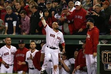 Shane Victorino came out for a curtain call after his grand slam in the seventh.