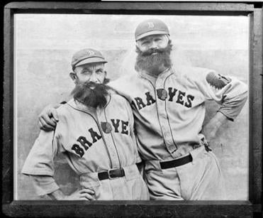 Boston Braves Rabbit Maranville and Art Shires paid tribute with fake beards when the team visited Boston in 1932.