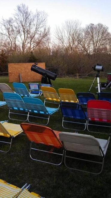 At Mark's Tree Farm, these chairs allow people to stretch out and look up as Mark Coppinger describes the night sky. Then they can look through his telescopes.