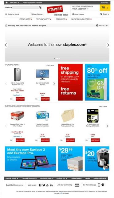Staples new website went live last weekend.