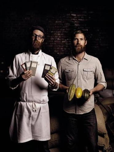 Brothers Rick (left) and Michael Mast in the Brooklyn, N.Y., headquarters of their artisanal chocolate factory.