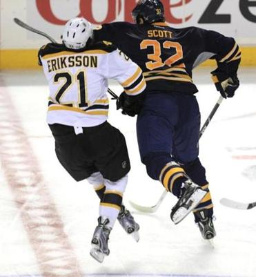 John Scott was suspended for this hit on Loui Eriksson.