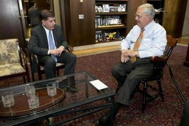 Mayor-elect Martin Walsh met with Mayor Thomas Menino in the mayor's City Hall office.