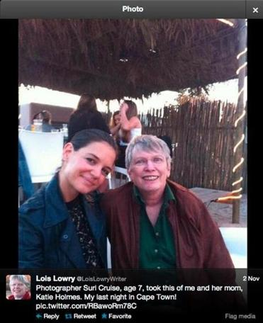 "Lois Lowry (right) with Katie Holmes in Cape Town, where Lowry's ""The Giver"" is filming."