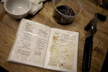 An old recipe book in the kitchen of the Oregon Club restaurant